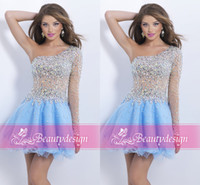 Wholesale Shiny Silver One Sleeve Dress - Stylish custom made short prom party gowns one shoulder long sleeve shiny sequins beaded crystals A line homecoming cocktail dresses BL9858