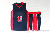 Wholesale Classic Basketball Jerseys Karl Malone USA Olympic Dream Team One Navy Road Jersey with Shorts Embroidered Revolution