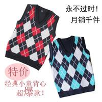 100 cashmere sweater - Autumn child cotton line sweater vest male child cashmere yarn vest child sweater