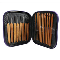 Wholesale 20Pcs Needles Bamboo Aluminum Knit Craft Bag Carbonize Knitting Crochet Hooks