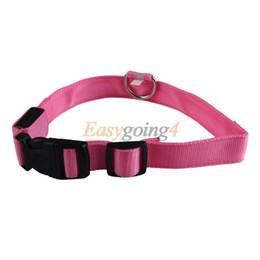 EA14 2.5cm LED Dog Pet Night Safety Collar Flashing Light Up Collar Pink M