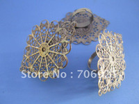 Cheap Free shipping Wholesale Adjustable Bronze Flower shape Ring Blanks ,ring settings 20pcs lot