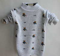 Cheap 3pcs New 2014 Boys sweater Cartoon bear Cool knitted shirt Autumn Winter base shirts Kids Casual sweaters tops Baby clothing