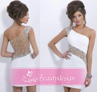 Wholesale 2014 Hot sale white sheath cocktail party dresses with sparkly sequins crystals one shoulder see through tulle back short prom gowns BO6368