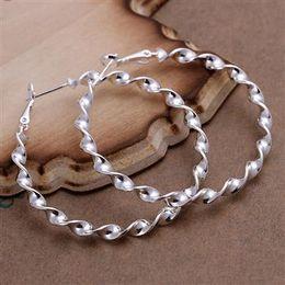 Wholesale Exaggerated Earings diameter cm Twist Corrugated Sterling Silver Jewelry Earings Charming women girls Ear hoop Earrings pairs