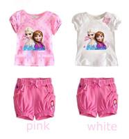 Wholesale Frozen Girl Sets Children Clothing Princess Anna Elsa Flower Tshirt Tee Bowknot Shorts Pants Outfit Kids Snow Queen Suit