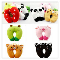 Wholesale Cartoon Neck Head Rest U shaped Pillow Travel Car Office Relax Soft Panda Cushion Pad Styles