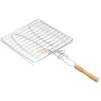 basket handle - EA14 BBQ Barbecue Fish Grilling Basket Roast Folder Tool with Wooden Handle