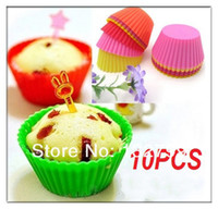 Wholesale 10x Silicone Round Cake Muffin Mold Chocolate Cupcake Liner Baking Cup Mould