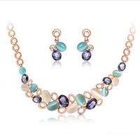 Cheap Free shipping Good quality!! Brand designer new design shiny blue gem opal wedding set jewelry rings necklace set 2014 PT31