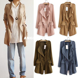 Wholesale Women Autumn New Trench Long sleeve V neck Classic pleated casual drawstring trech coat plus size with pockets elegant