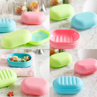 Wholesale Bathroom Accessories Candy Color Dual Layer Soap Box With Cover Home Hotel Travel Soap Dish HG PK