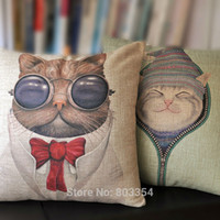 Wholesale Japanese Style Bow Tie Cat Print Cushion Cover Cute Cartoon Creative Home Decorate Throw Pillow Case Linen Square quot