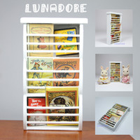 Wholesale White Wood Newspaper Magazine Rack Cabinet Miniature Toy For Re ment Orcara Miniature Toys Dolls Accessories