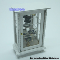 Wholesale Miniature White Display Cabinet Mirror Shelving Dollhouse For Re ment Gift Toys Doll Accessories