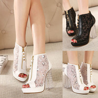 Wholesale New Clear Chunky High Heel Lace Crochet Sheer Peep Toe Platform Summer Booties Shoes US Size