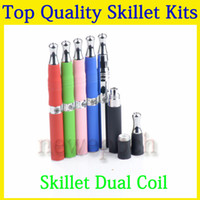 Cheap Dual coil vaporizer pen Wax burning device titanium e cigarette ego electronic cigarette wax vaporizer ego skillet starter kit free shipping