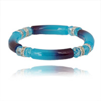Wholesale Blue Resin Acrylic Beaded Stretch Delicate Spicer Bangle Bracelet Wrist Bands