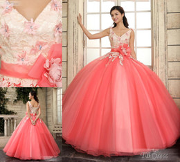 Wholesale 2015 Modern New Ball Gown Quinceanera Dress V Neck Lace up Back Appliqued Sequined Sleeveless Chapel Train Prom Dress Gown With Sash