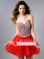 Cheap 2015 Pink Sweetheart Ball Gown Bling Homecoming Dresses Crystal Beaded Corset Graduation Dress Red Cocktail Gowns Short Prom Gown E450