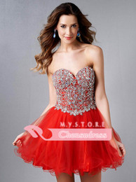Wholesale 2015 Pink Sweetheart Ball Gown Bling Homecoming Dresses Crystal Beaded Corset Graduation Dress Red Cocktail Gowns Short Prom Gown E450