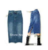 Cheap Free Shipping 2014 New Fashion Blue Denim Jeans Skirt For Women Pencil Skirt With Slit Long S-XL Spring And Autumn ol long pocket Skirts