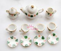 Wholesale Dollhouse Miniature Green Red porcelain China Coffee Tea Lid Pot Cups Set