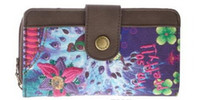 Cheap Wholesale - new Purple desigual Clutch ladies purse multi Card Wallet Handbag PU twill printing embroidery Free postage Desigual wallet #050