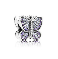 Wholesale Sparkling Butterfly Purple CZ butterfly charms made of sterling silver fit European bracelets No LW358