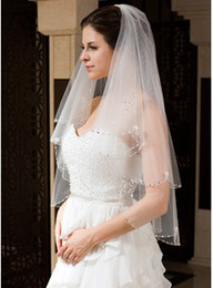 Wholesale 2014 Best seller Two Layers Elbow Length Beaded Edge Wedding Veil