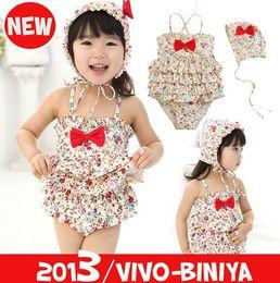 Wholesale Summer new children spa beach swimwear kids bowknot floral Siamese swimsuits girls suspender swimwear sets T
