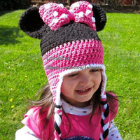 hand knitted - Minnie Mouse Caps Hats Kids Cap Girls Hats Fashion Wool Cap Baby Crochet Hats Children Caps Hand Knitted Caps Baby Hat Girls Caps Kids Hat