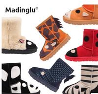 Wholesale Kids Winter wool boots animal boots Australia boots children girls boys leather cartoon ladybug boots
