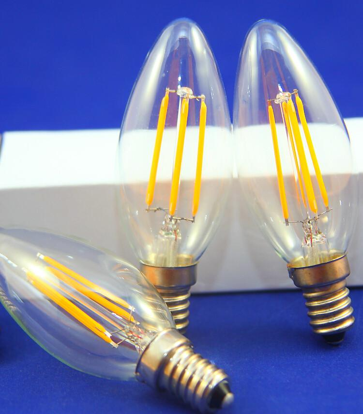 6pcs / lot NOUVEAU filament conduit ampoule E14 E12 5W dimmable lustre LED CE RO