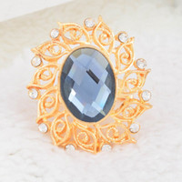 Wholesale Fashion Gold Plated Crystal Rhinestone Wedding Party Class Statement Cocktail Finger Ring Harness