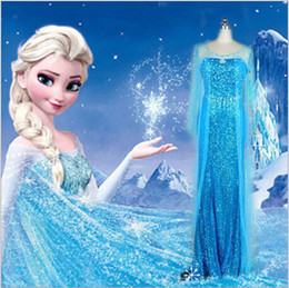 Wholesale Frozen Queen Elsa Dress Costume For Adult women kids children snow queen frozen dress Princess Dress Blue Sequined Cosplay Costume for party