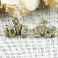 Wholesale pieces antique bronze plated vintage style metal alloy love word charms diy jewelry hd1744