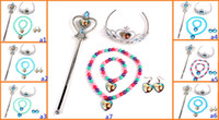 Wholesale 2014 FROZEN jewelry Children s Jewelry Set Crown magic wand necklace bracelet earrings Fashion pearl necklace set H4