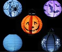 Halloween pumpkin - New Halloween Decoration LED Pumpkins Lantern Jack Skeletons Spiders Bats Haunted House Bar Party Props Lantern Supplies Gift for Kids M1602