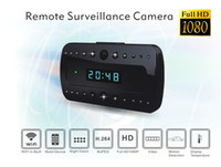Wholesale 2014 New Latest Clock Wireless WiFi IP Camera P2P Camcorder H Hidden Camera Wide angle view deg Mini DV DVR
