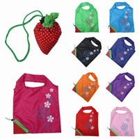 Wholesale Portable Strawberry Shopping Bag Outdoor Folding Reusable Compact Eco Handbags Tote Bags Colors Choose ZXK