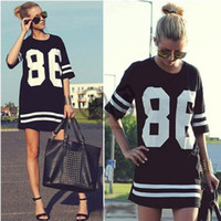 Cheap 2014 Summer Women Celebrity Oversized 86 American Baseball Tee T Shirt Top Short Sleeve Loose Dress, Black Plus Size LD0611