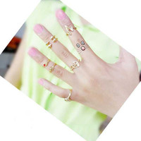 Wholesale 7Pcs Triangle Hand Skull Above Delicate Knuckle Band Mid Finger Mini Rings Set