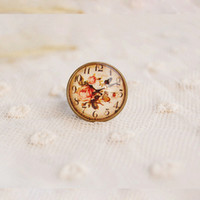 Cheap Free shipping Wholesale Brand designer retro metal clock rings High quality flower jewelry Girlfriend gift 2014 2014 K42
