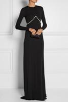 Wholesale 2015 Spring Fall Winter Jewel Long Sleeve Black Backless Chiffon Beading Sheath Celebrity Dresses Formal Evening Dresses Sweep Train