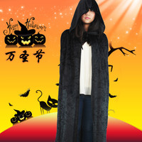 Wholesale Halloween cloak villus long cloak adult black hooded cloak halloween supplies