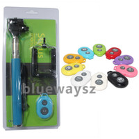 Wholesale NEW camera Bluetooth Remote Control Shutter Monopod Self timer for iphone s ipad samsung Galaxy S4 s5 note htc with retail box