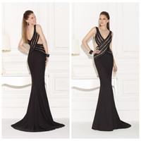 Cheap Black Formal Evening Gown Criss Cross Sequin Custom Made Formal Evening Mermaid Designer Celebrity Red Carpet Dress Tarik Ediz 92471