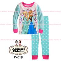 Cheap Wholesale-Hot!!Frozen Princess children's clothing sets,cut cartoon girls pajama sets,toddler baby kids pijama sleepwear suit