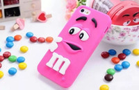 For Apple iPhone bean case - 3D M M Chocolate Candy Bean Smile Silicone Rubber Gel Soft Case For Iphone Plus G S G S Colorful cartoon Cute skin cover